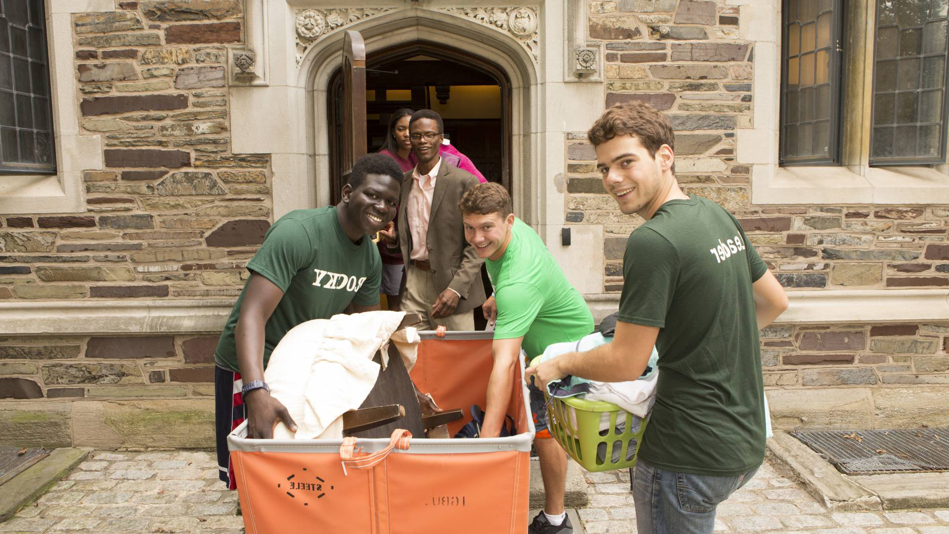 Photo of students moving in to Rocky dorm