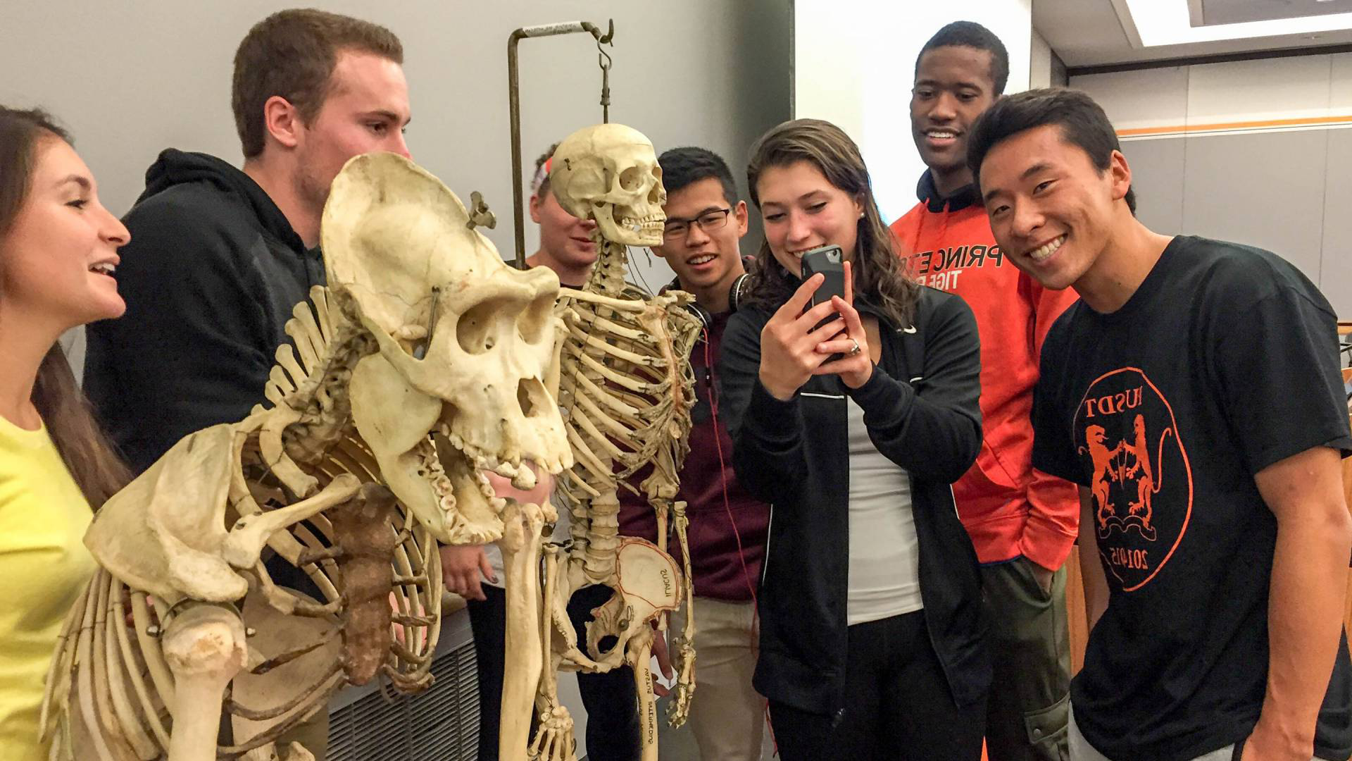 students with skeleton