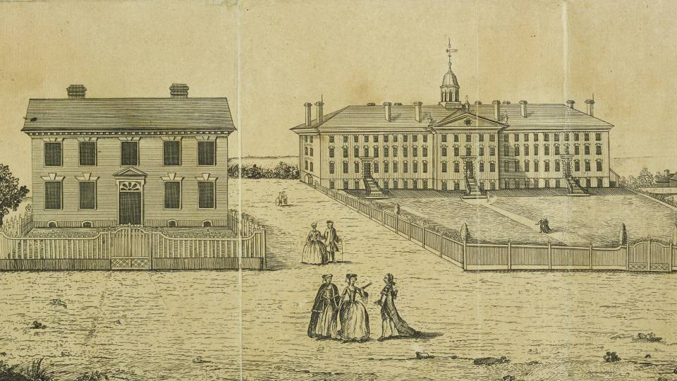Old sketch of Nassau Hall