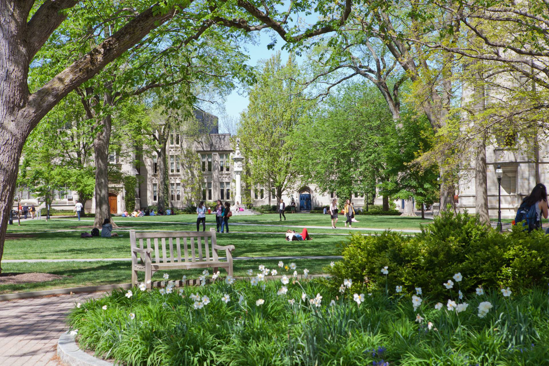 People in chapel, Dickinson, and McCosh courtyard