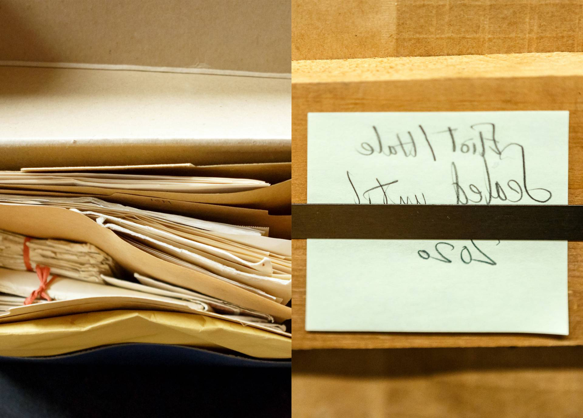 "A post-it note on a box that reads, ""Eliot/Hale, sealed until 2020"" and a top view of a box full of papers"