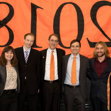 Kathryn Hall, Georgios Moschidis, Cole Bunzel, President Eisgruber,  Matthew Edwards, Chantal Berman, Sarah-Jane Leslie