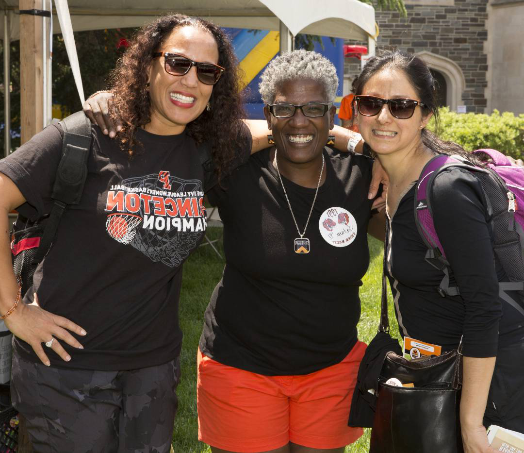 Alumnae Irma Martinez, Satana Deberry and Julianna Edwards reconnect at the 25th Reunion headquarters in Whitman College